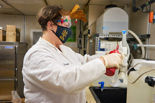 A woman in a white lab coat, safety goggles, a black mask, and a pair of reindeer antlers uses a red squeeze bottle to wash laboratory equipment.